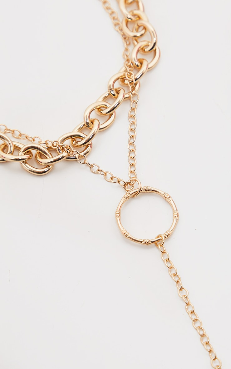 Gold Double Layer Chain And Ring Necklace 2