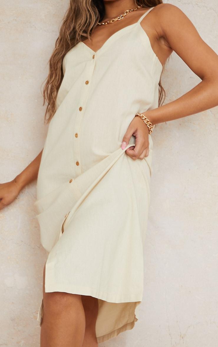 Stone Linen Look Wooden Button Down Strappy Slip Maxi Dress 4