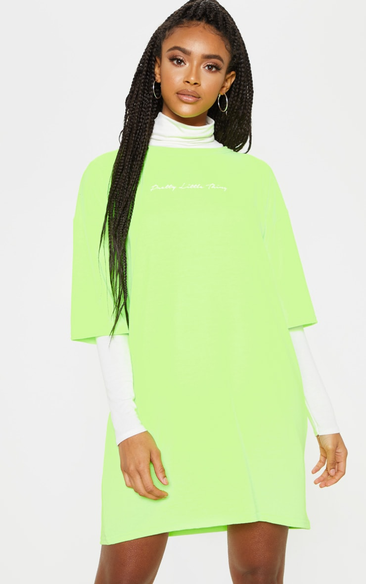 PRETTYLITTLETHING Lime Oversized Boyfriend T Shirt Dress 1