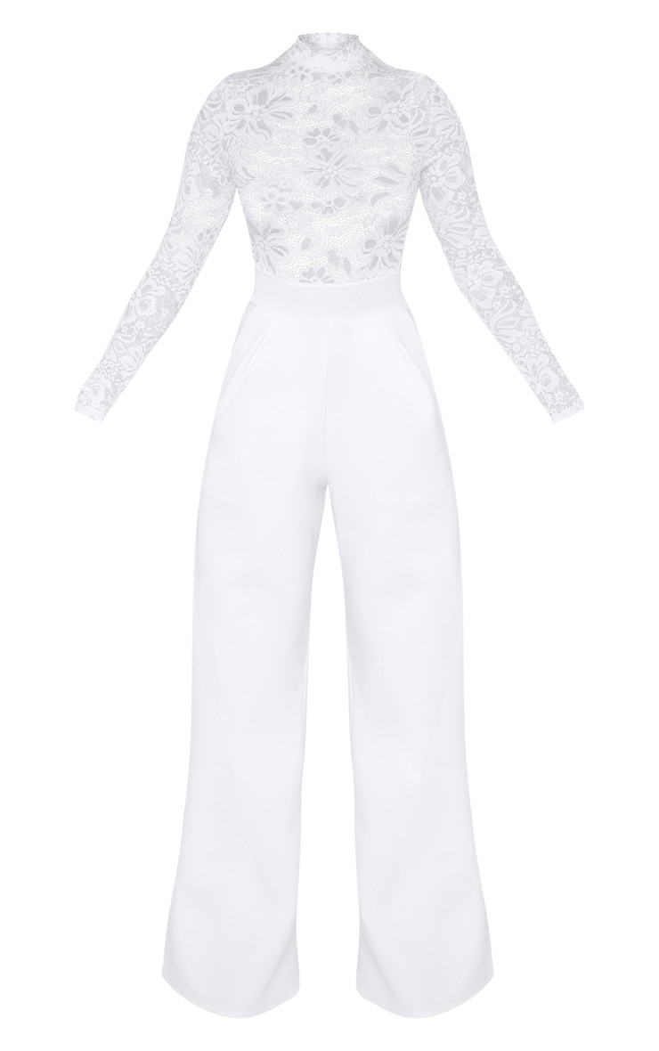 Petite White Lace High Neck Long Sleeve Jumpsuit 1