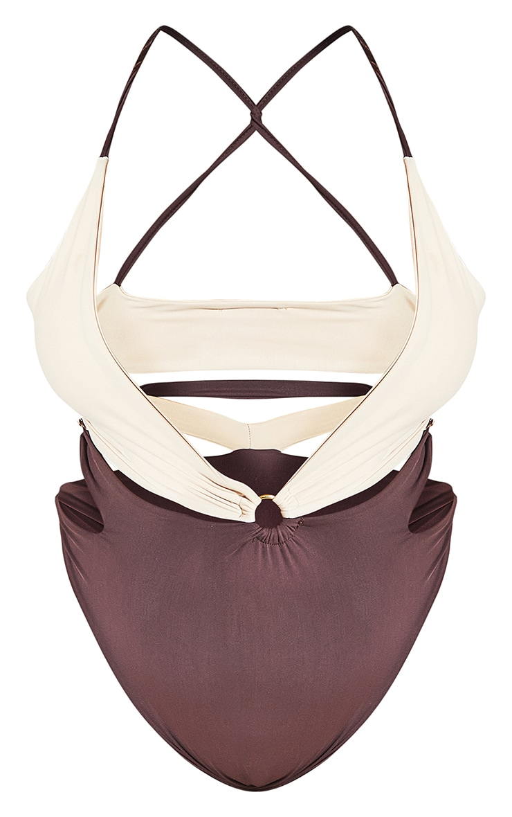 Plus Chocolate Contrast Cut Out Swimsuit 8