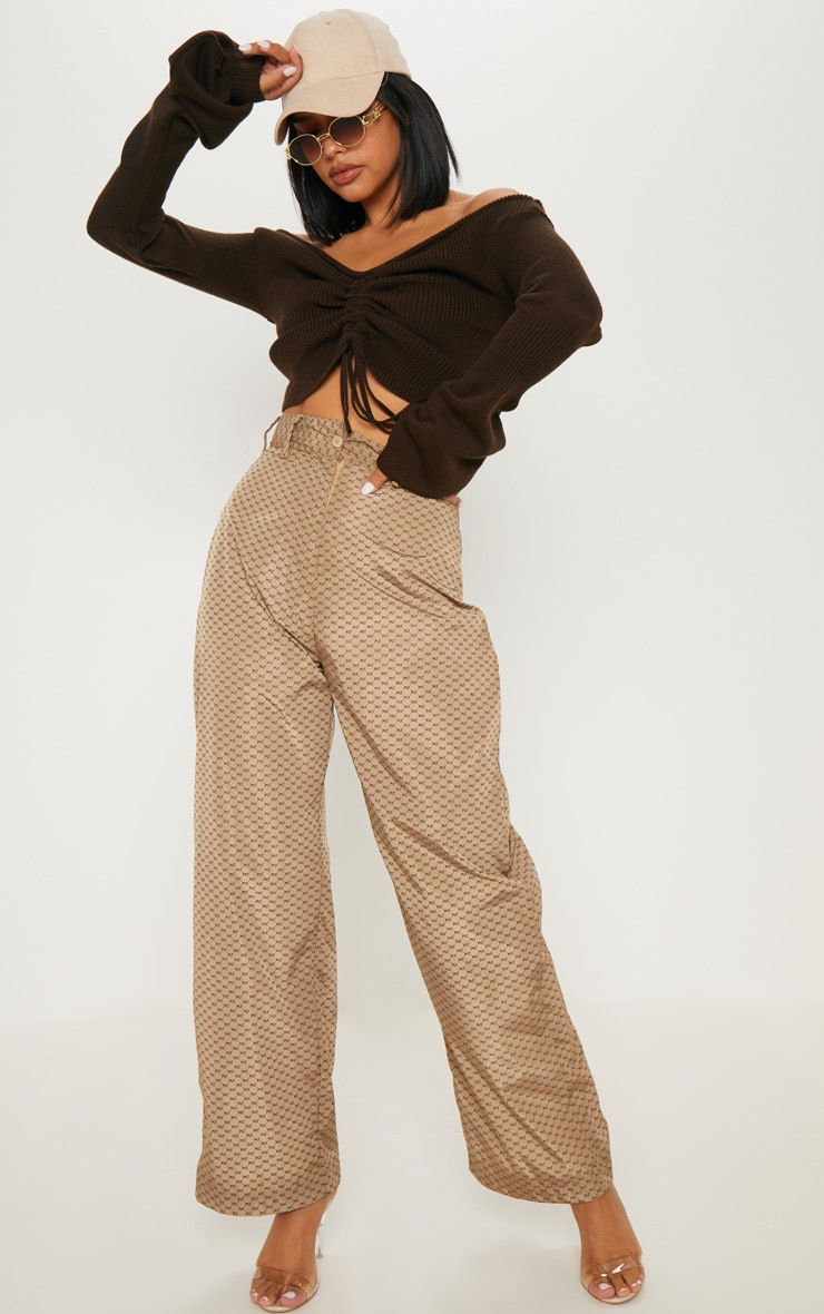 Chocolate Ruched Knit Extreme Sleeve Crop Jumper 4