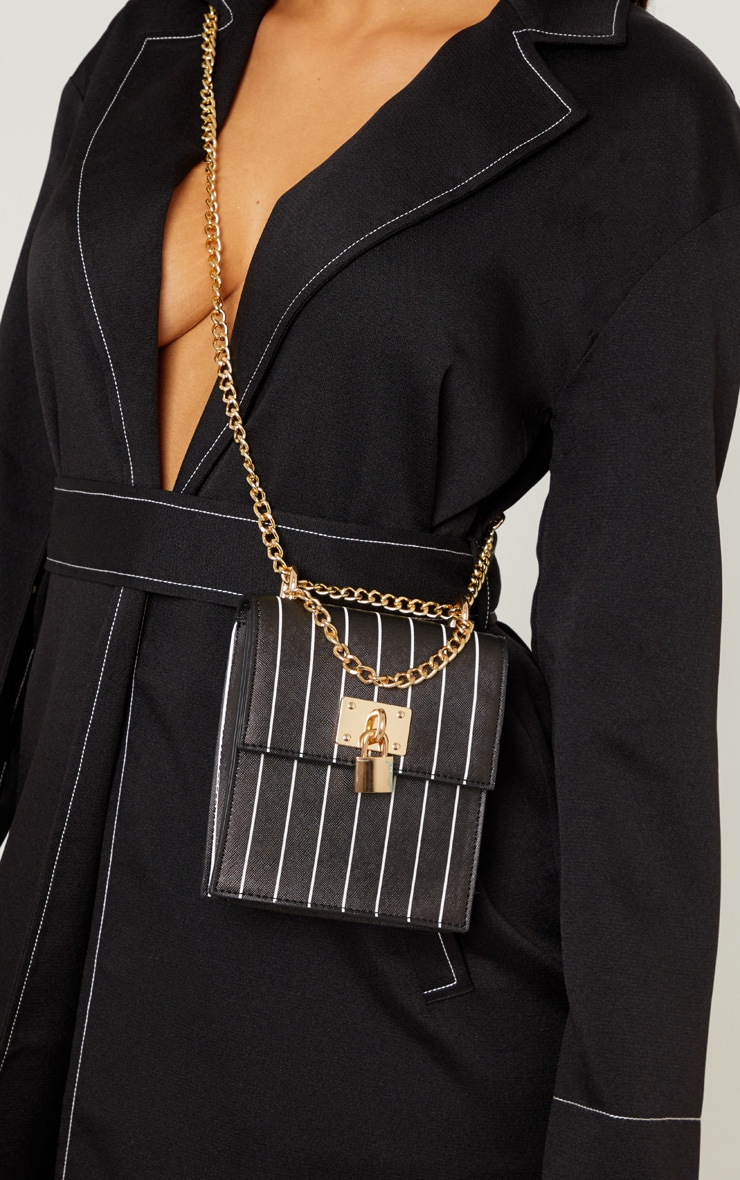 Black Vertical Stripe Structured Chain Bum Bag 1