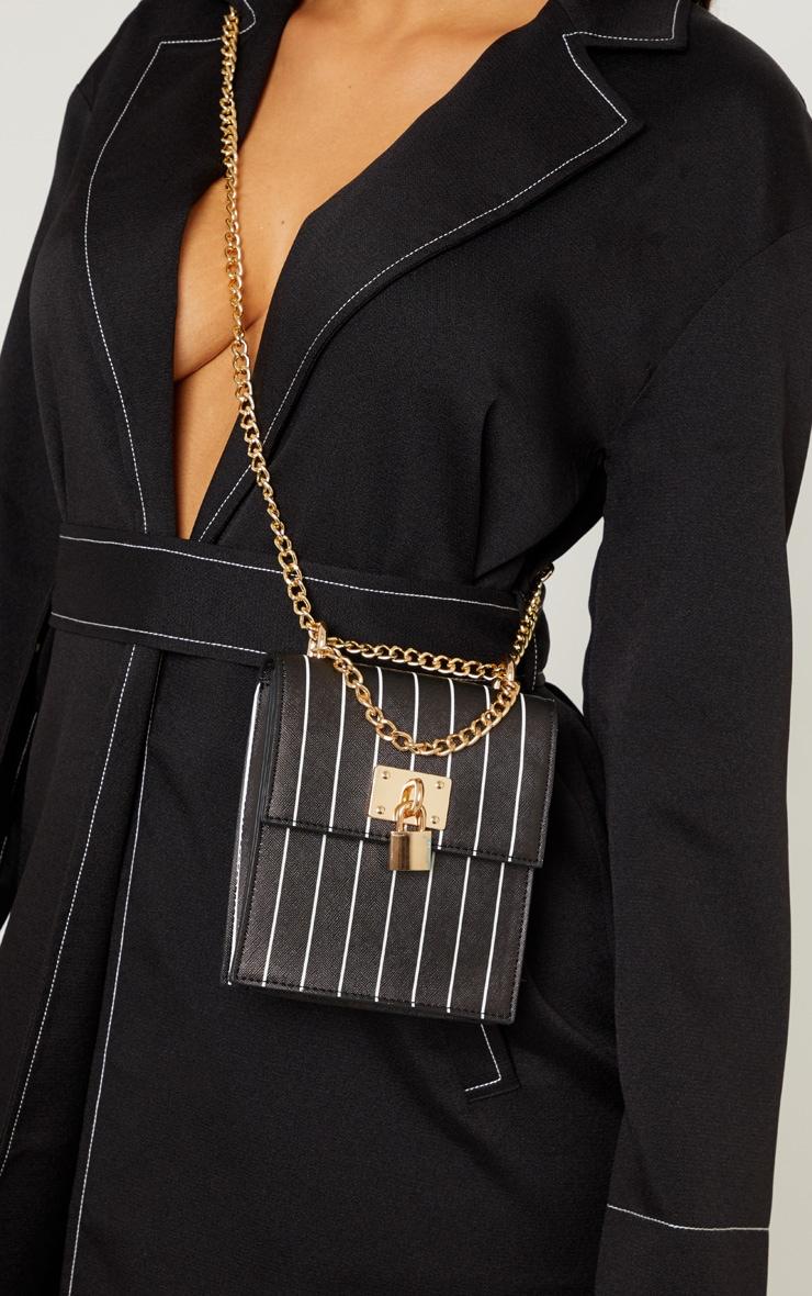 Black Vertical Stripe Structured Chain Bum Bag