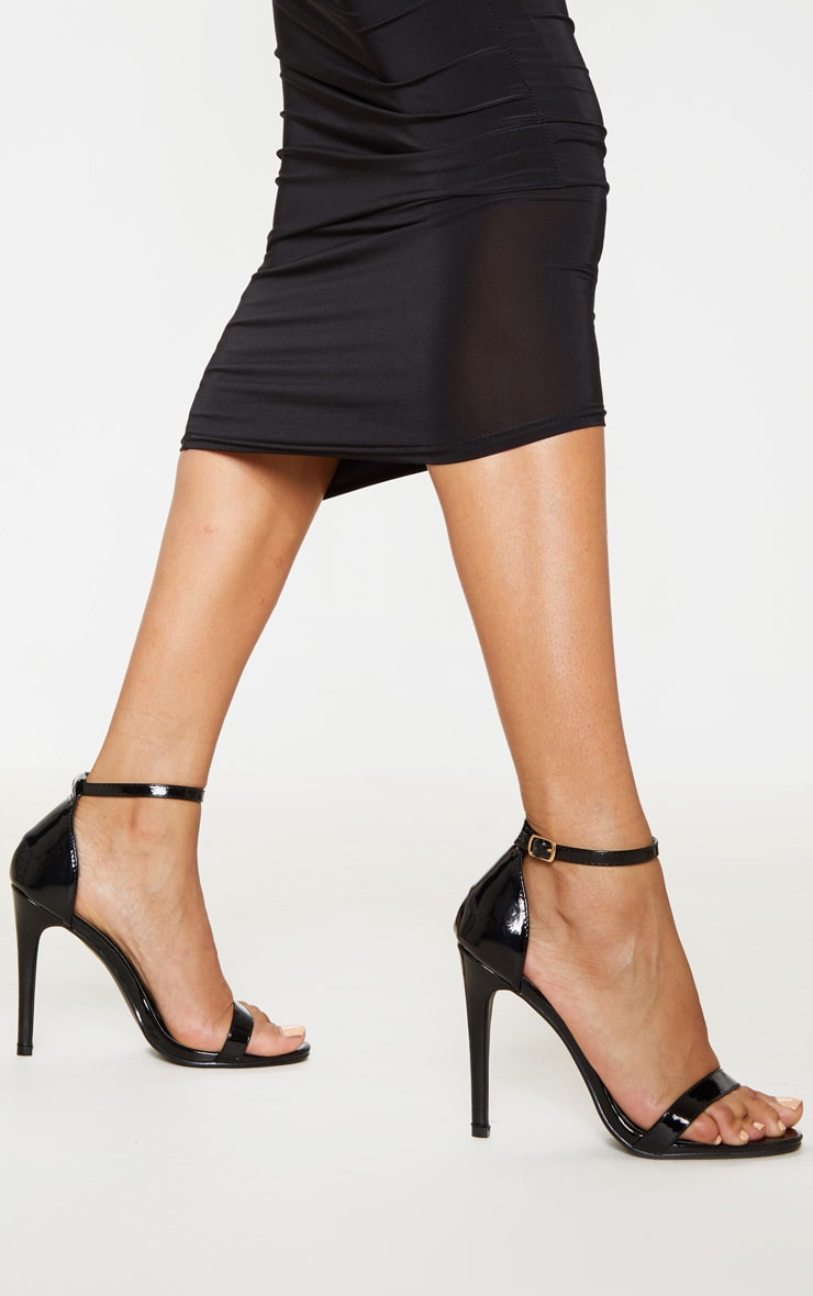 Clover Black Patent Heeled Strappy Sandal 2
