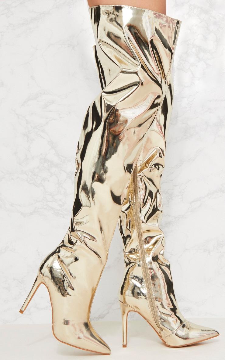 Gold Metallic Thigh High Boot 1