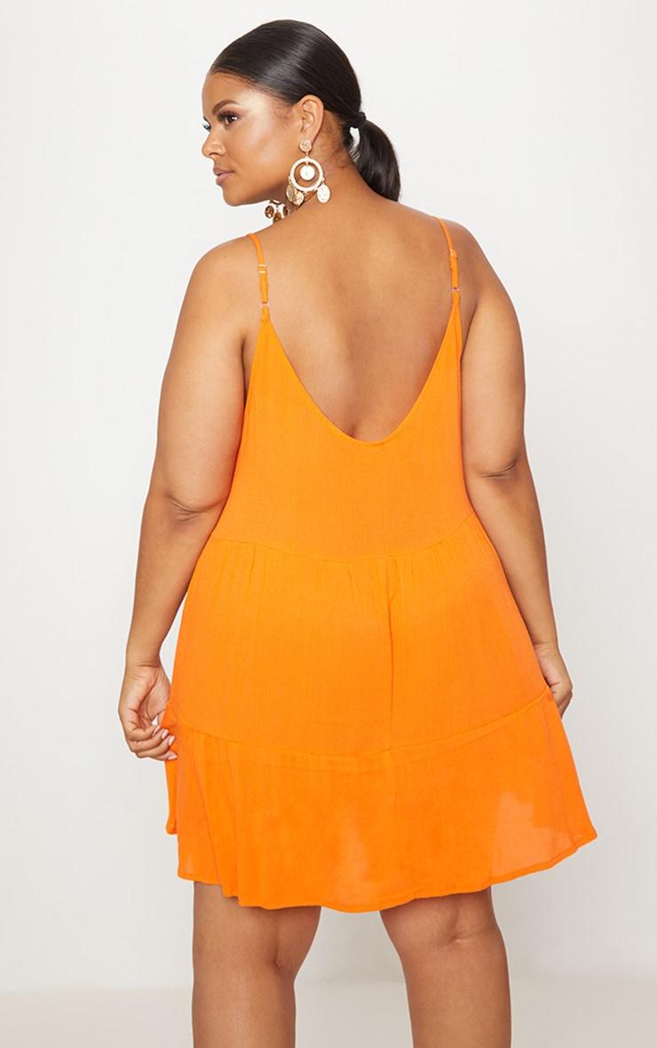 Plus Orange Cheesecloth Strappy Swing Dress 2