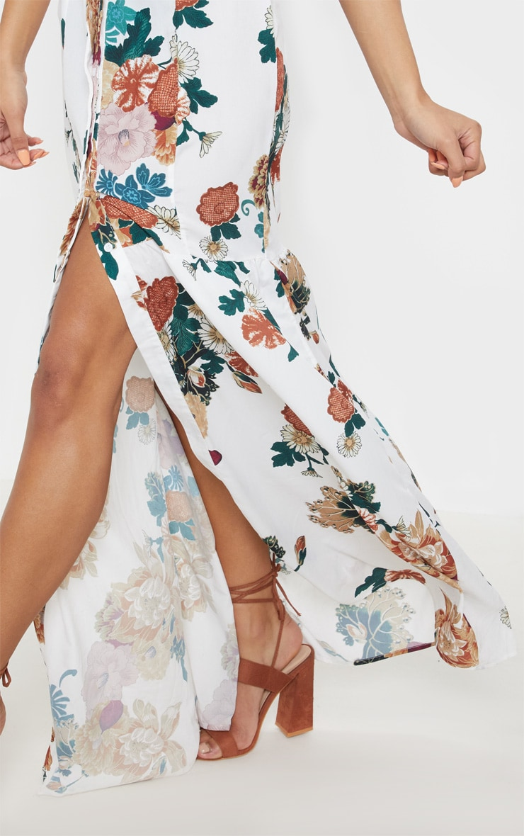 White Floral Button Front Split Maxi Dress 5