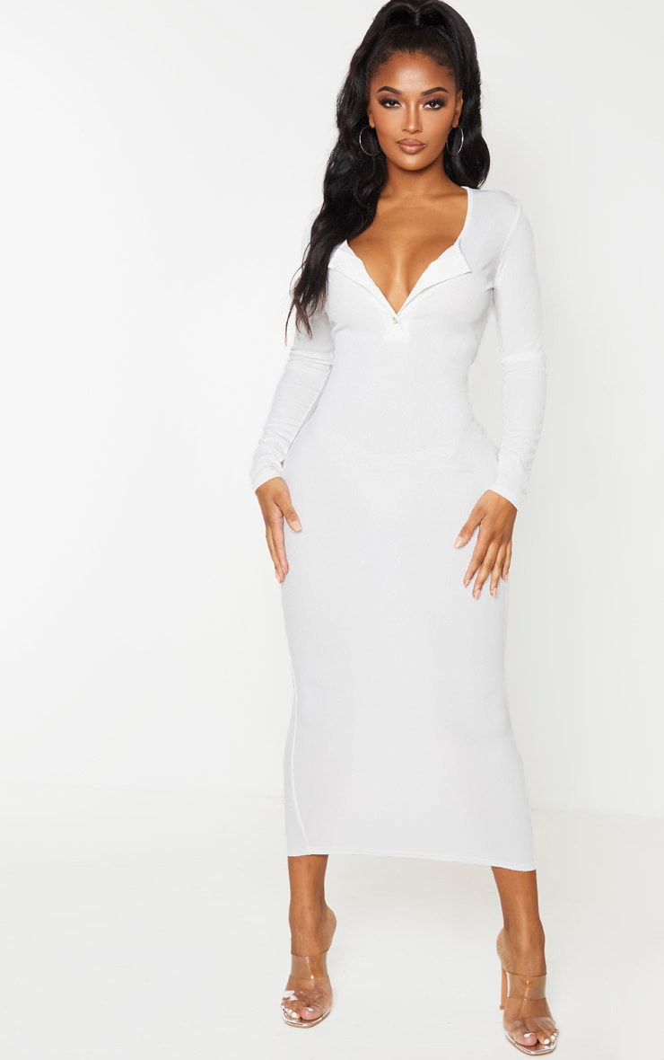 Shape Cream Ribbed Button Front Long Sleeve Midaxi Dress 1