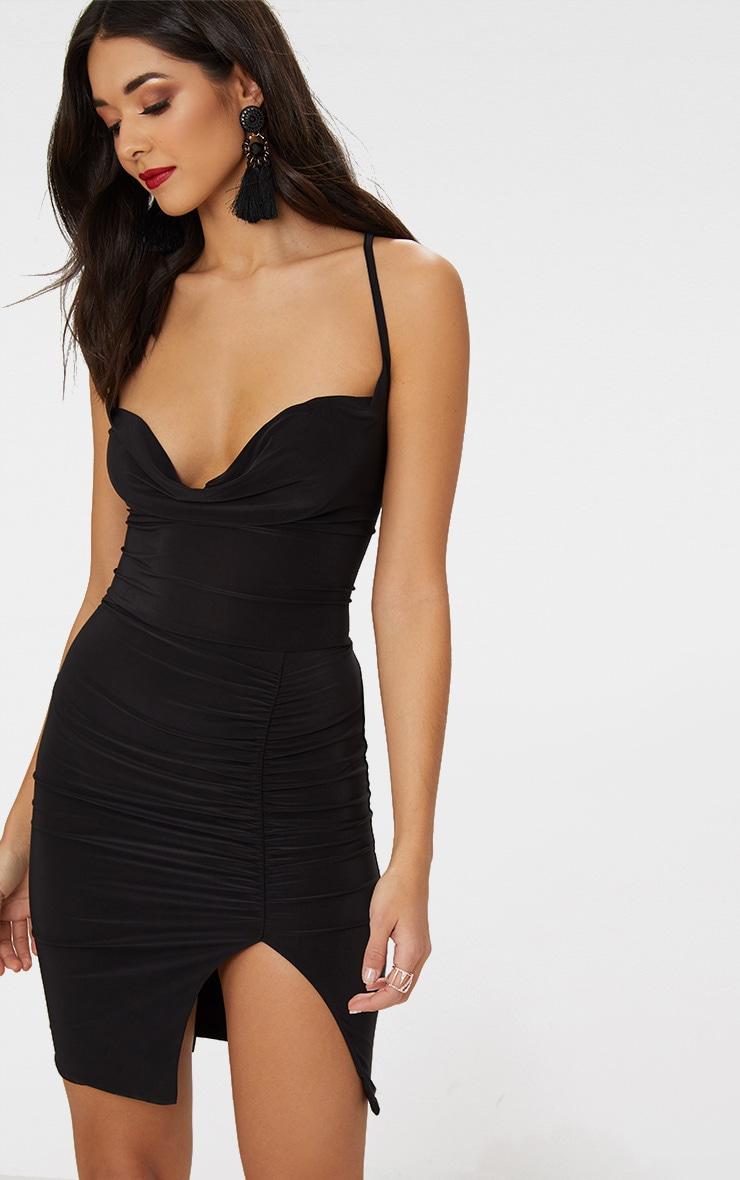 Black Lace Up Back Cowl Neck Bodycon Dress 2