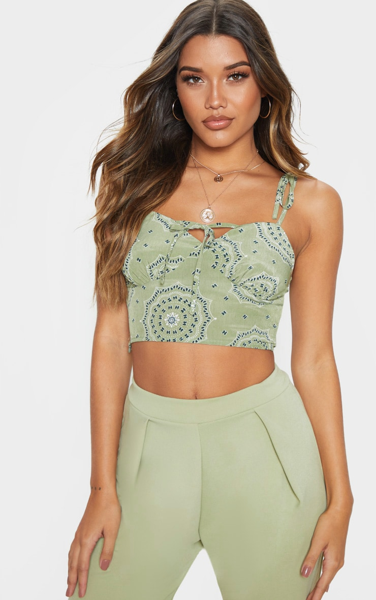 Sage Green Floral Printed Cup Tie Detail Sleeveless Crop Top 1