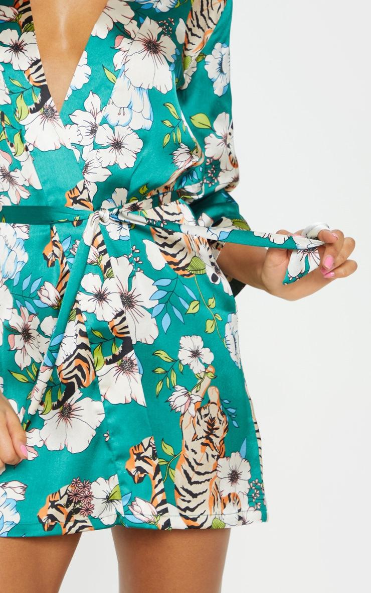 Emerald Tiger Blossom Satin Robe 5