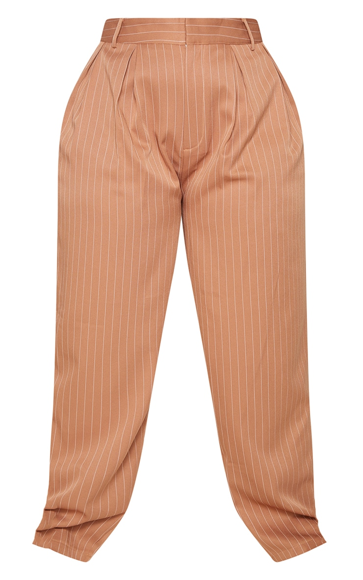 Plus Brown Pinstripe Woven High Waisted Cigarette Pants 5