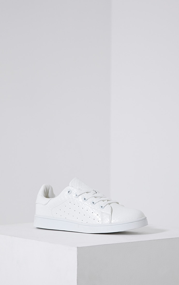 Zina White Lace Up Trainers 3