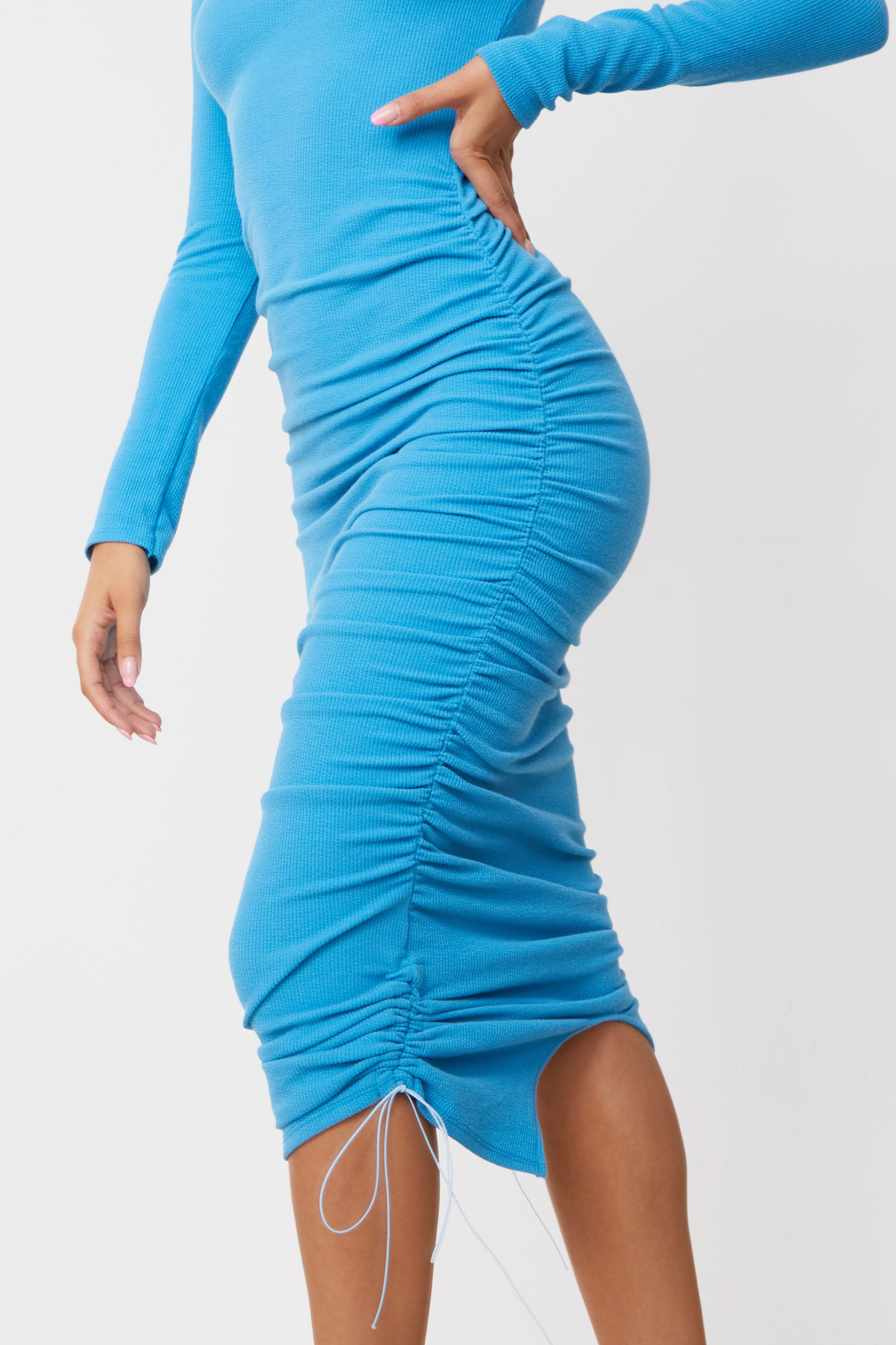Blue Ribbed Long Sleeve Ruched Midi Dress 4