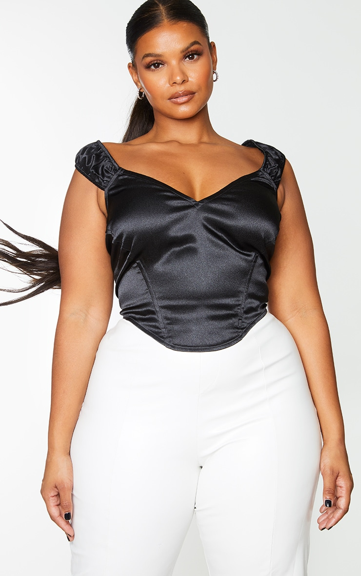 Plus Black Satin Bardot V Neck Corset 1
