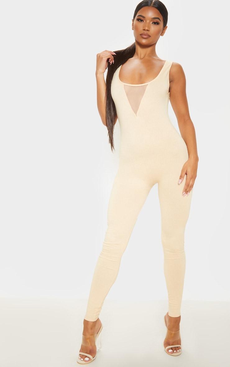 Fawn Cotton Elastane Mesh Panel Sleeveless Jumpsuit 2