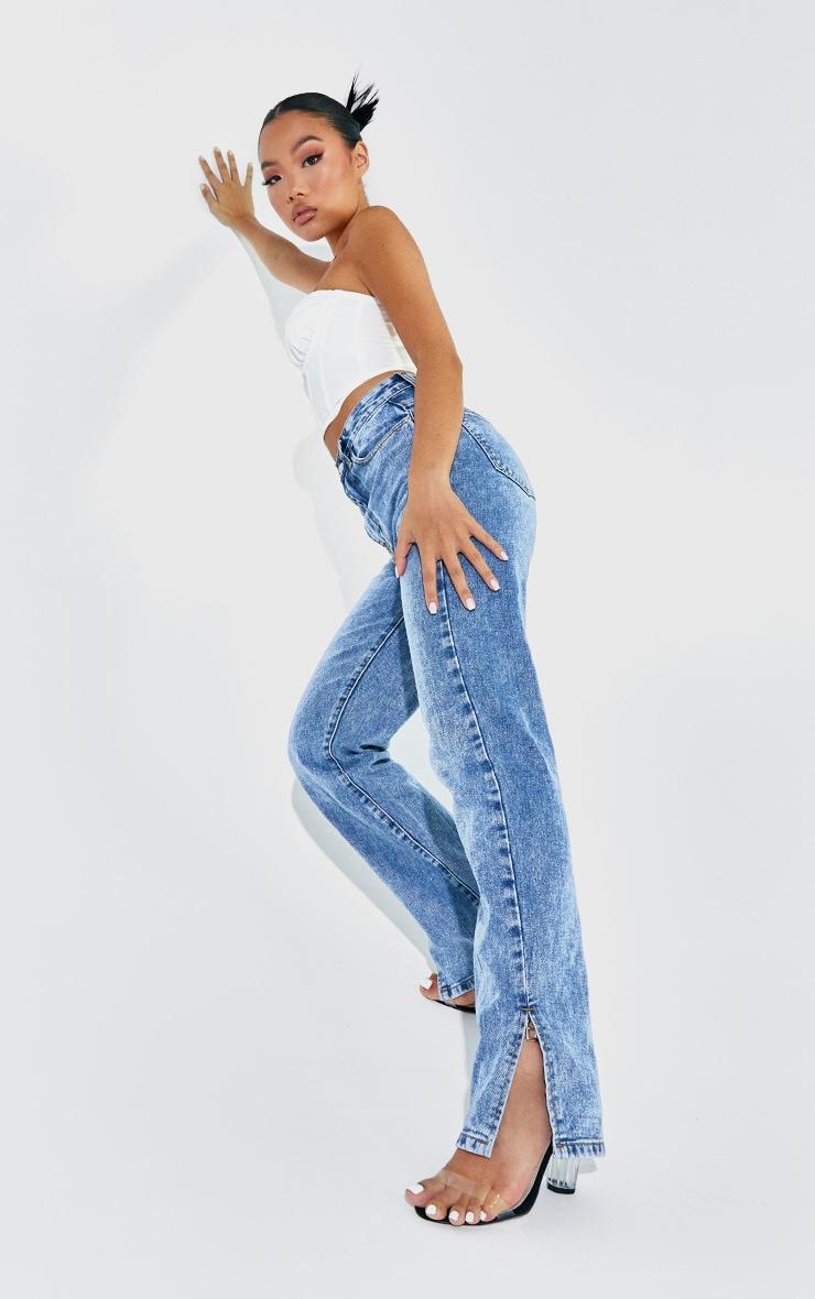 Petite - Jean bleu moyen à ourlet fendu