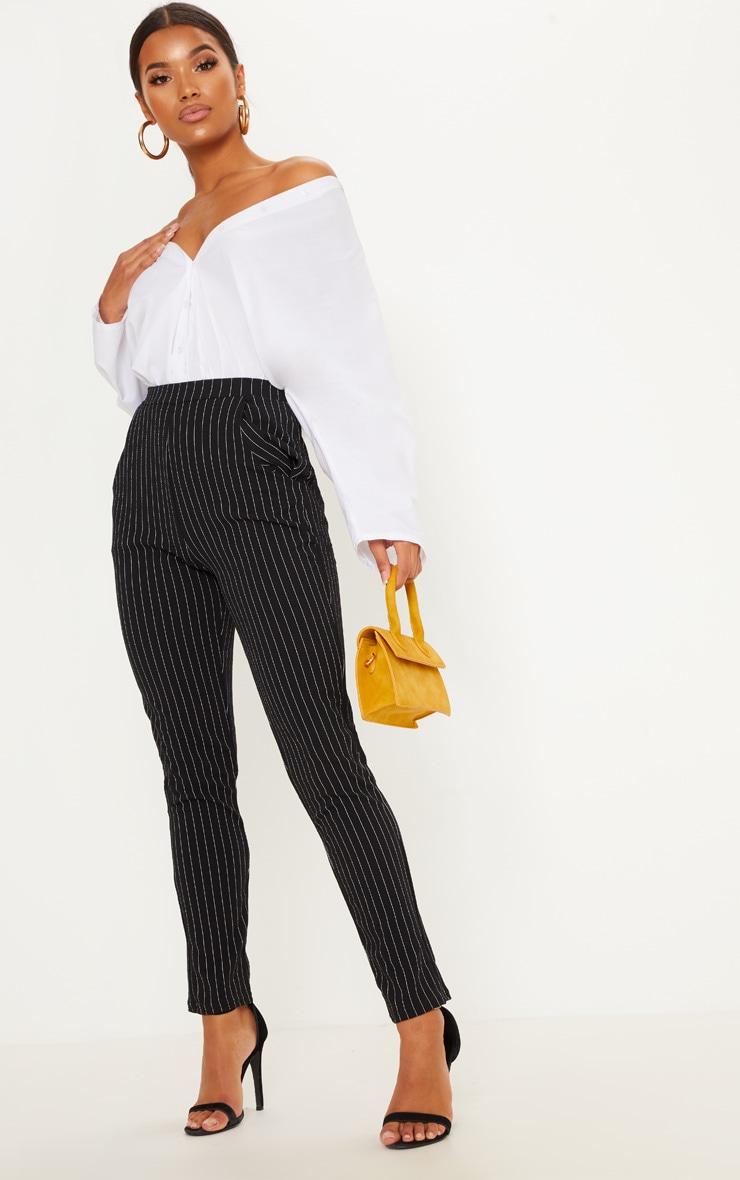 Pantalon à rayures noir 1