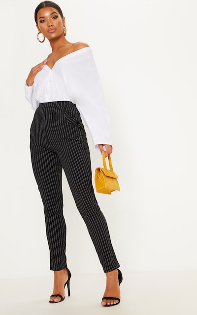 Monochrome Pinstripe Skinny Trousers