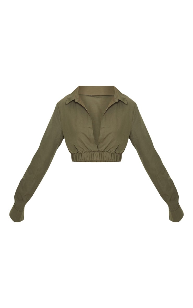 Petite Khaki Cropped Long Sleeve Blouse 3