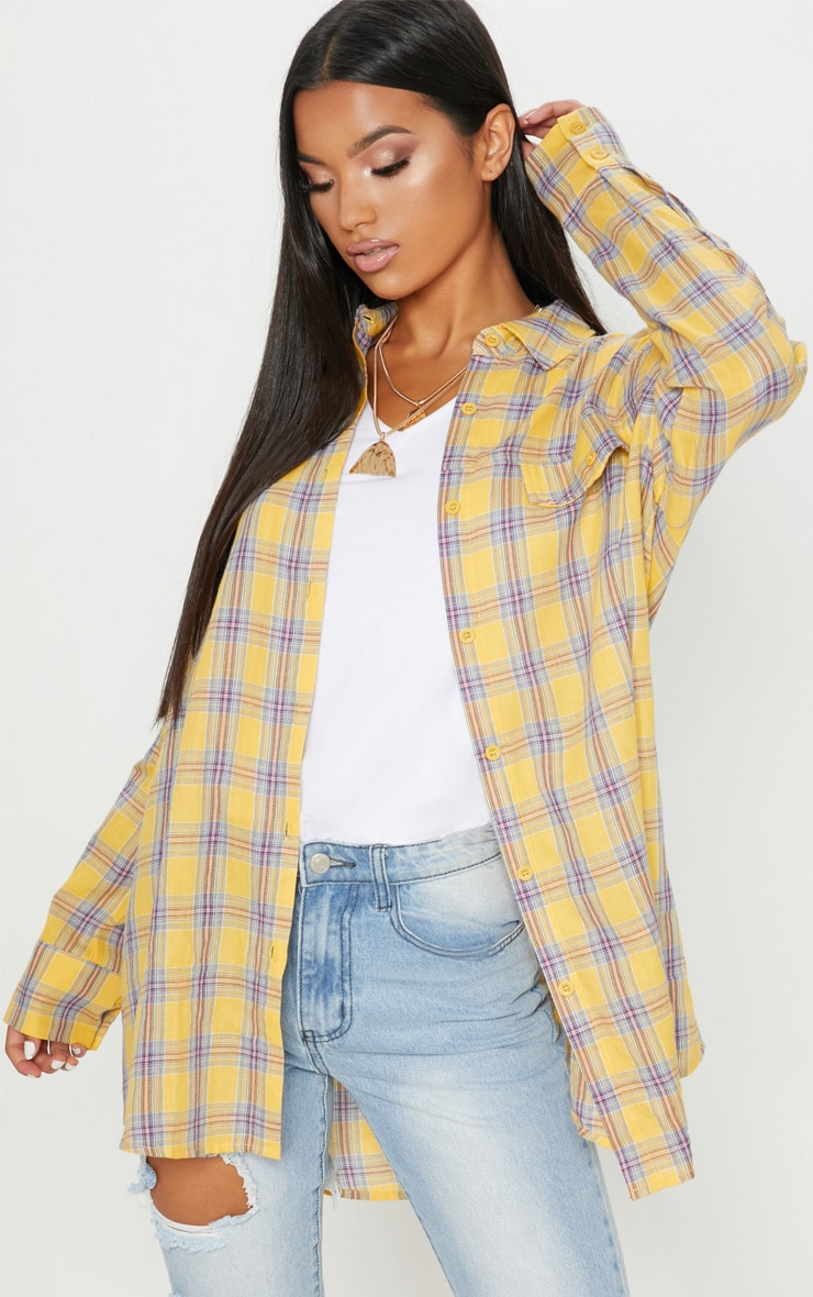 Pale Yellow Check Oversized Shirt 1