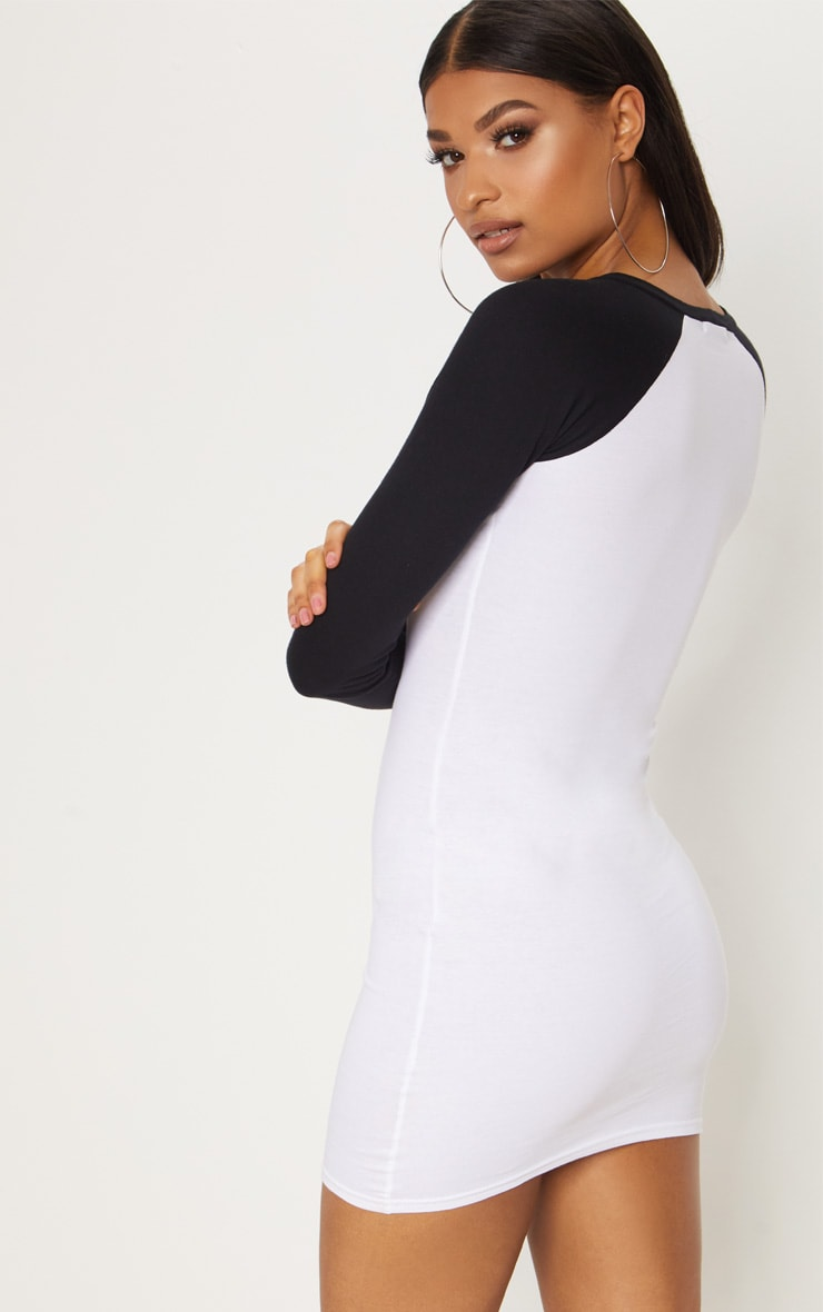 PRETTYLITTLETHING White Embroidered Long Sleeve Contrast Bodycon Dress 2
