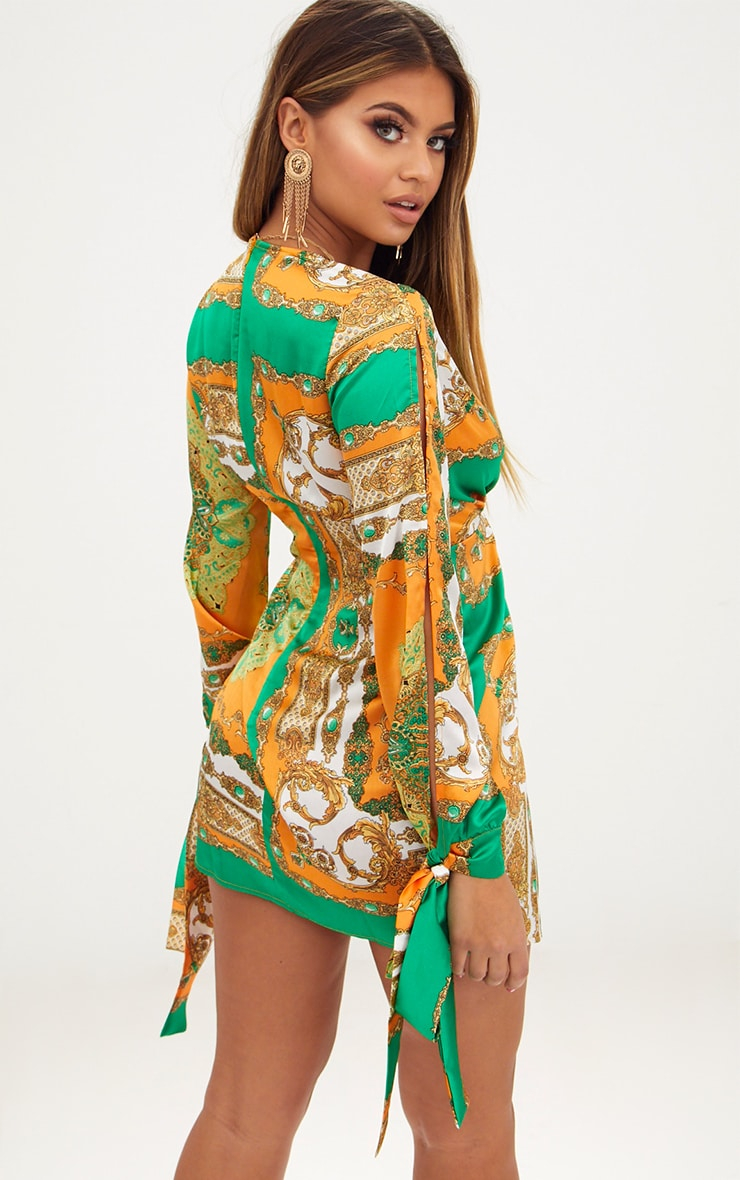 Green Printed Open Arm Knot Front Tie Sleeve Shift Dress 2