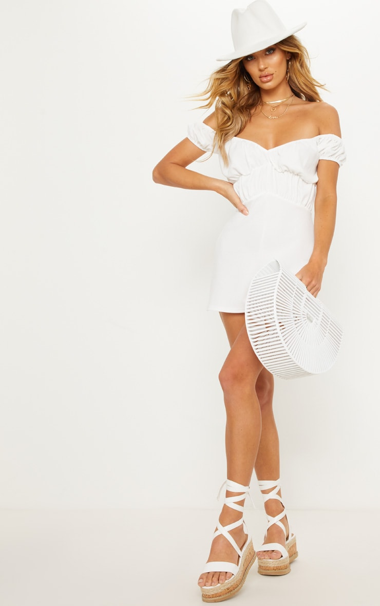White Bardot Ruched Detail Playsuit 3