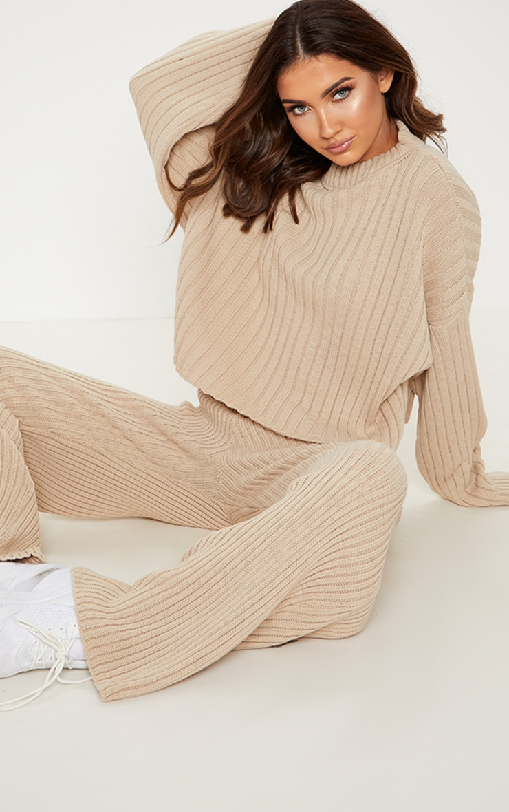Stone Ribbed Knitted Oversized Jumper  4