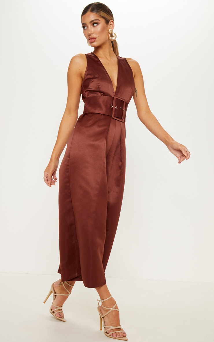 Chocolate Satin Belt Culotte Jumpsuit 4