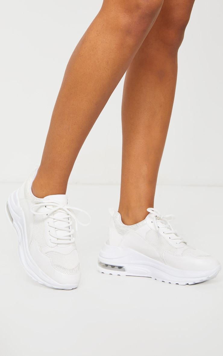 White Bubble Panel Sole Lace Up Sneakers 4