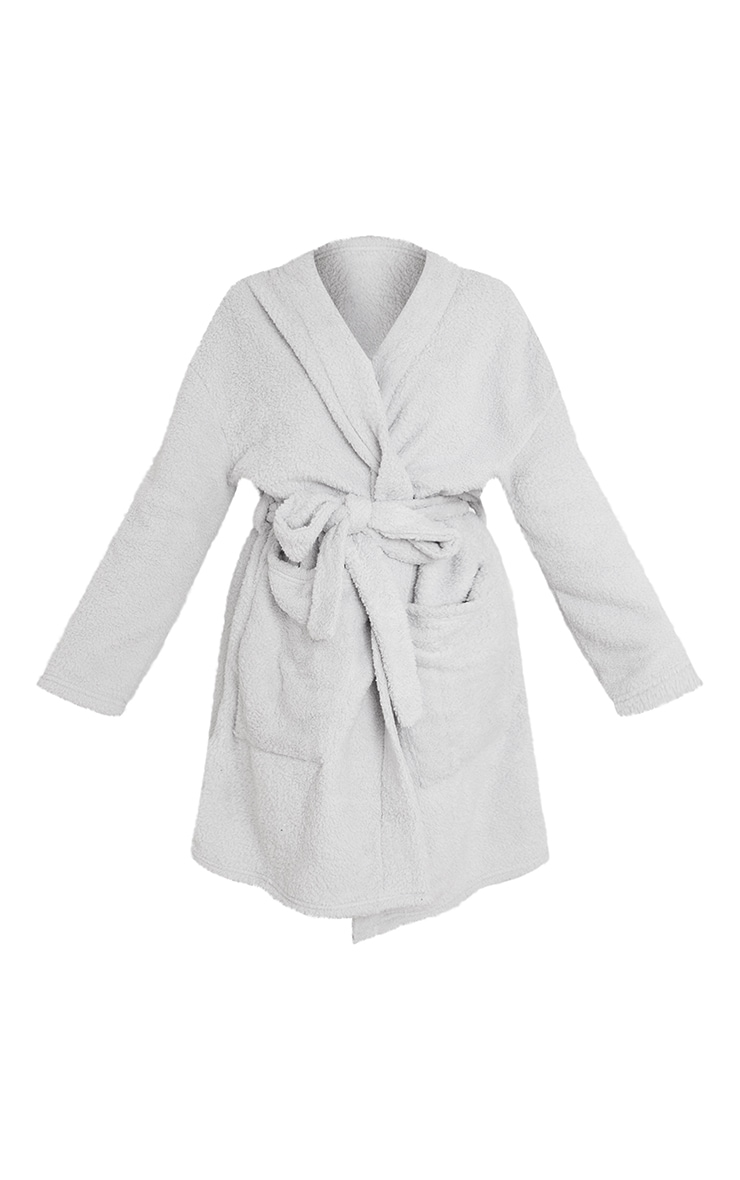 Grey Oversized Fluffy Dressing Gown 5