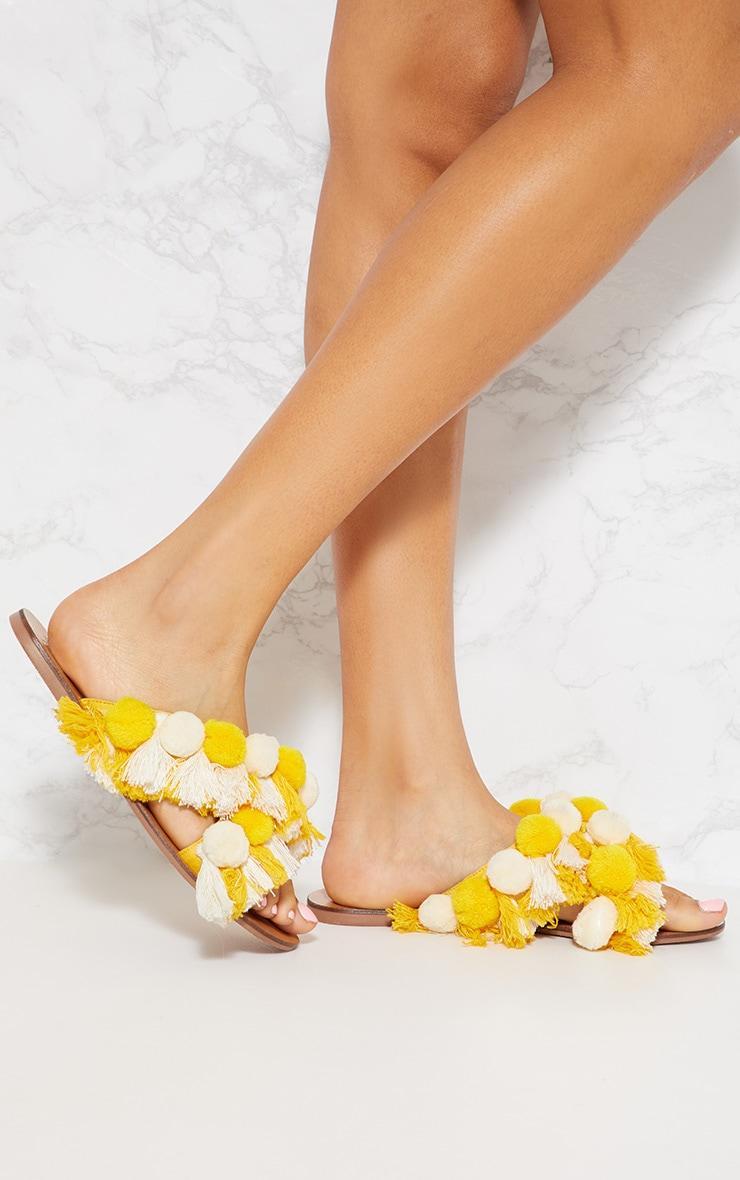 Cream Cross Strap Pom Pom Tassel Sandal