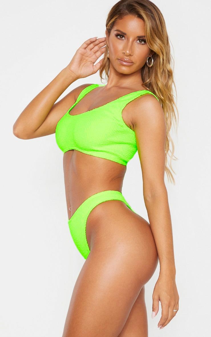 Neon Lime Crinkle Thong Bikini Bottom 2