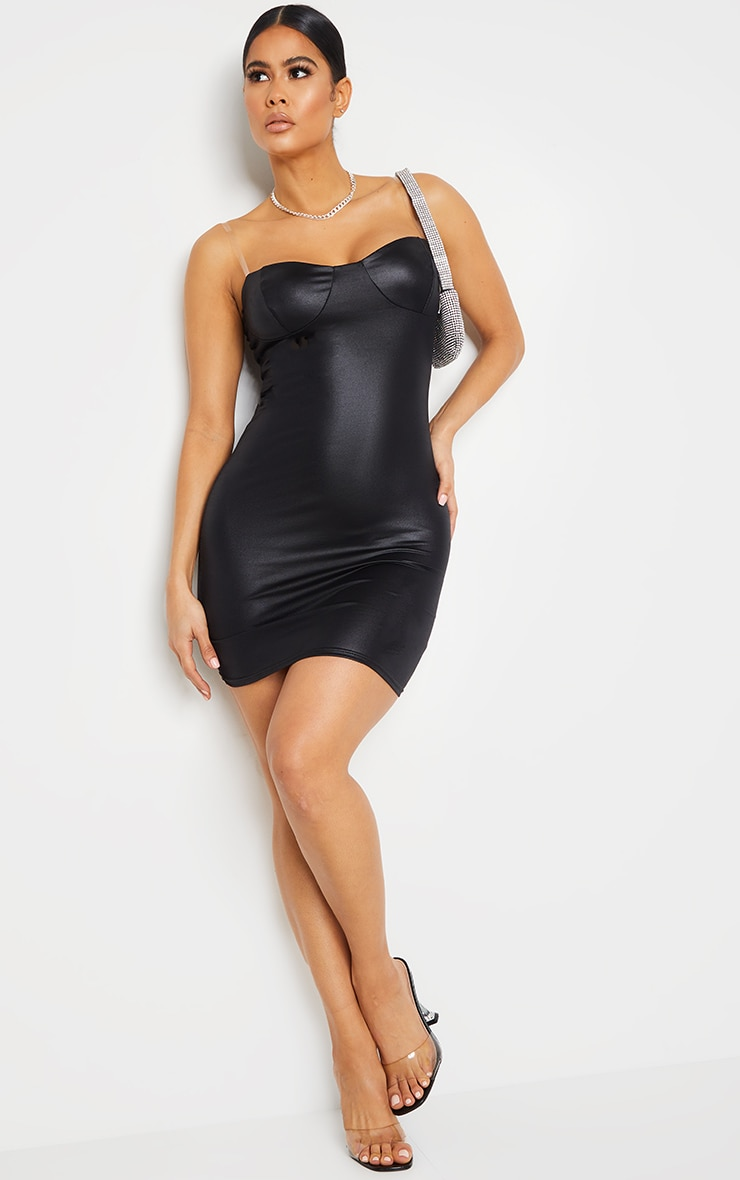 Black Clear Strap Cup Detail Wet Look Bodycon Dress 3