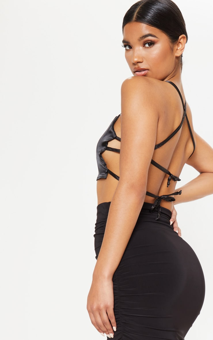 Black Satin Backless Strappy Crop Top 2