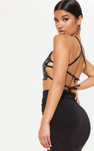 Black Satin Backless Strappy Crop Top