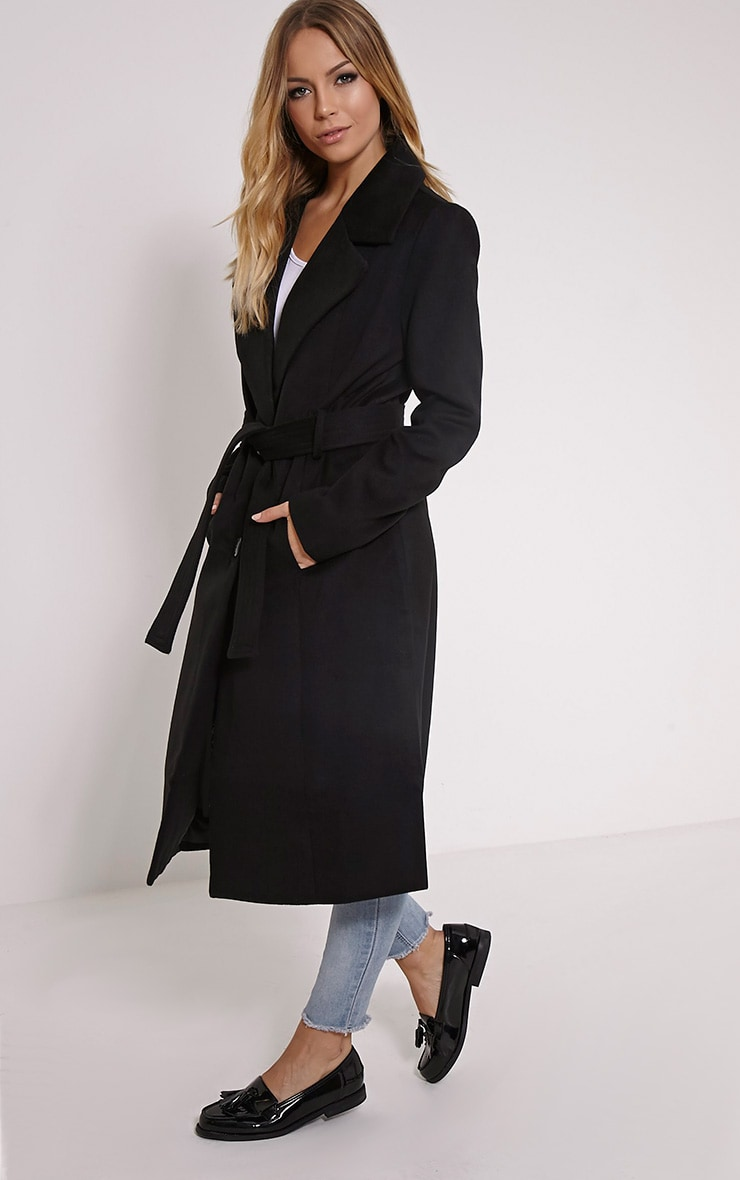 Gwenore Black Belted Waisted Longline Coat 3