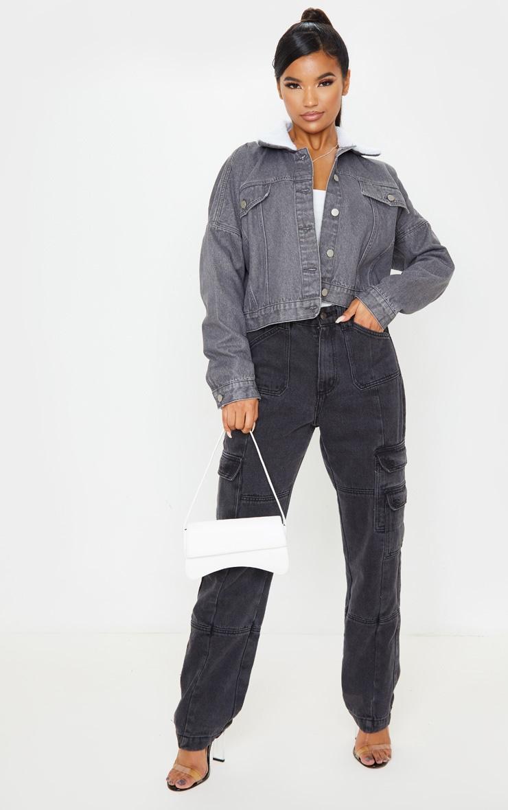 Washed Grey Borg Collar Denim Jacket 5