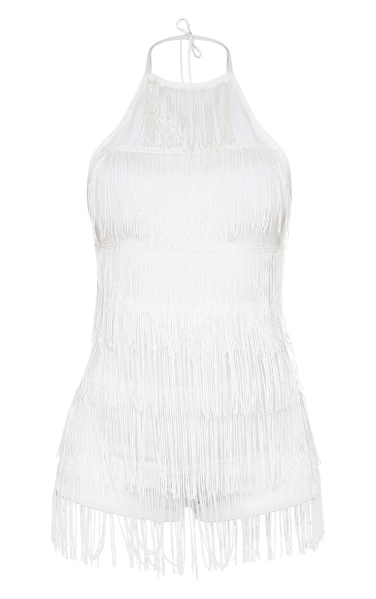White Strappy Tassel Playsuit 3