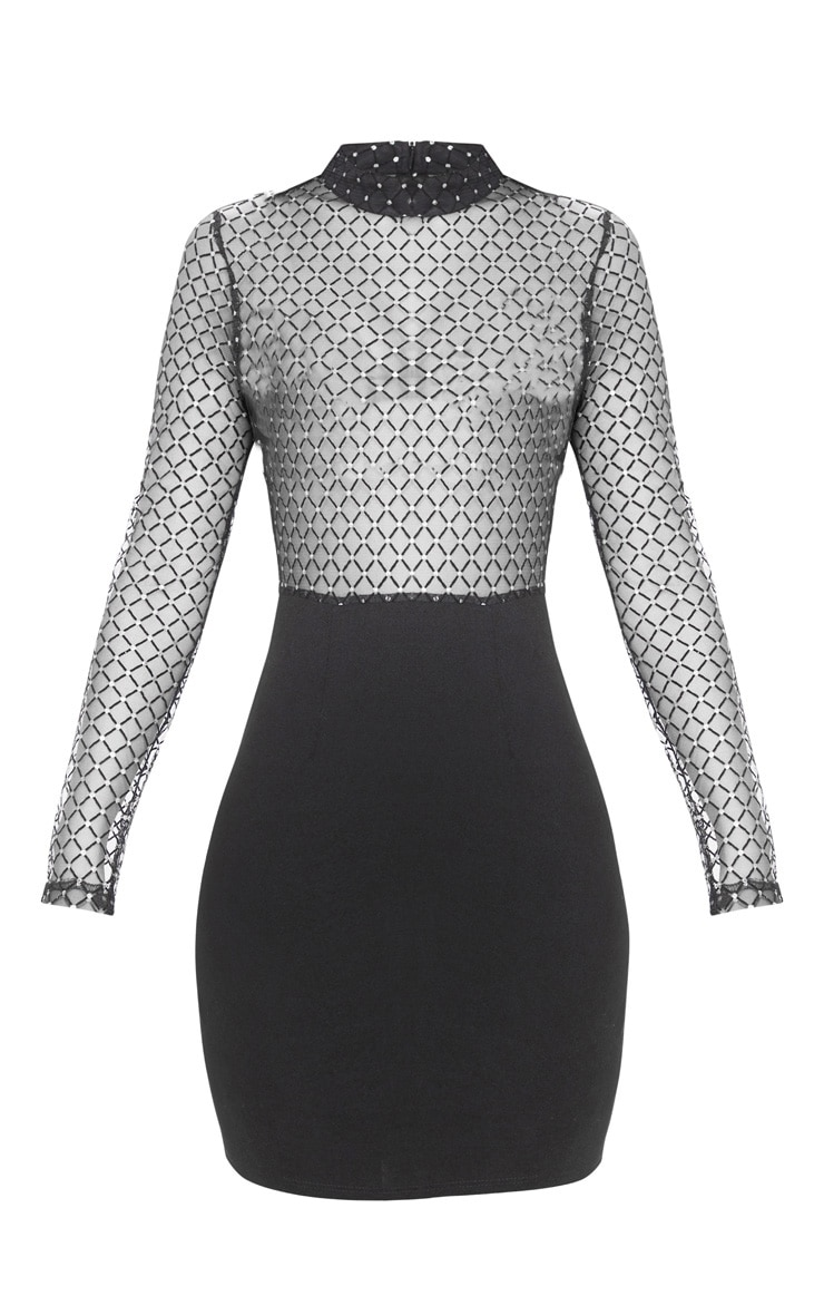 Black Criss Cross Mesh Top Bodycon Dress 1