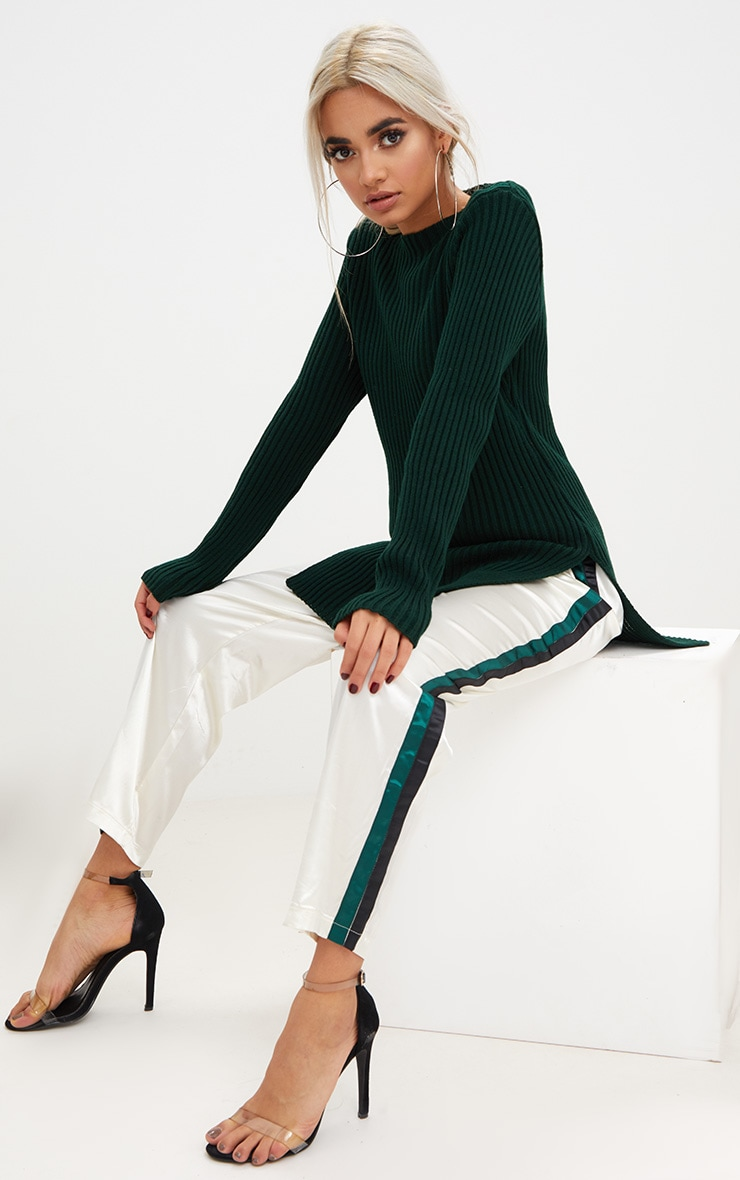 Forest Green Round Neck Side Split Knitted Jumper 4