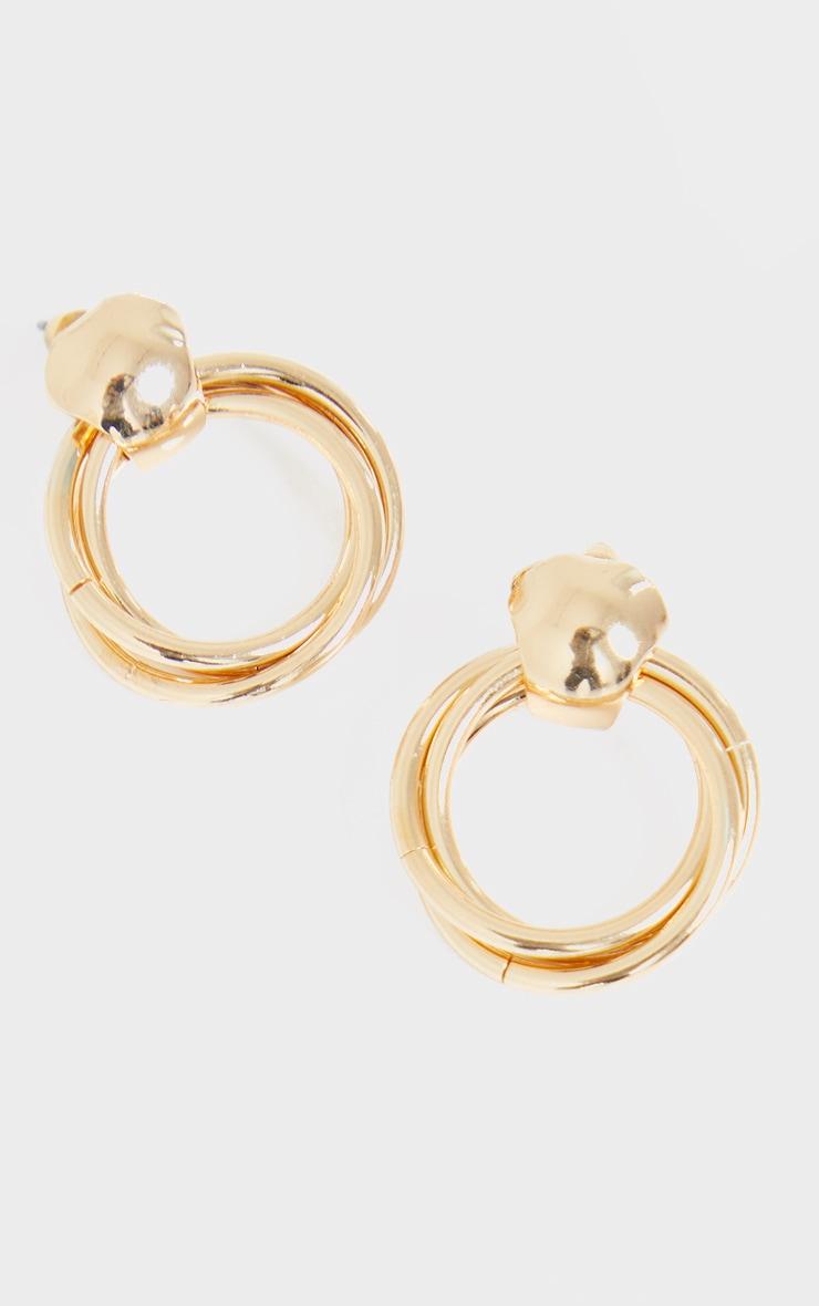 Gold Double Twist Mini Door Knocker Earrings 3