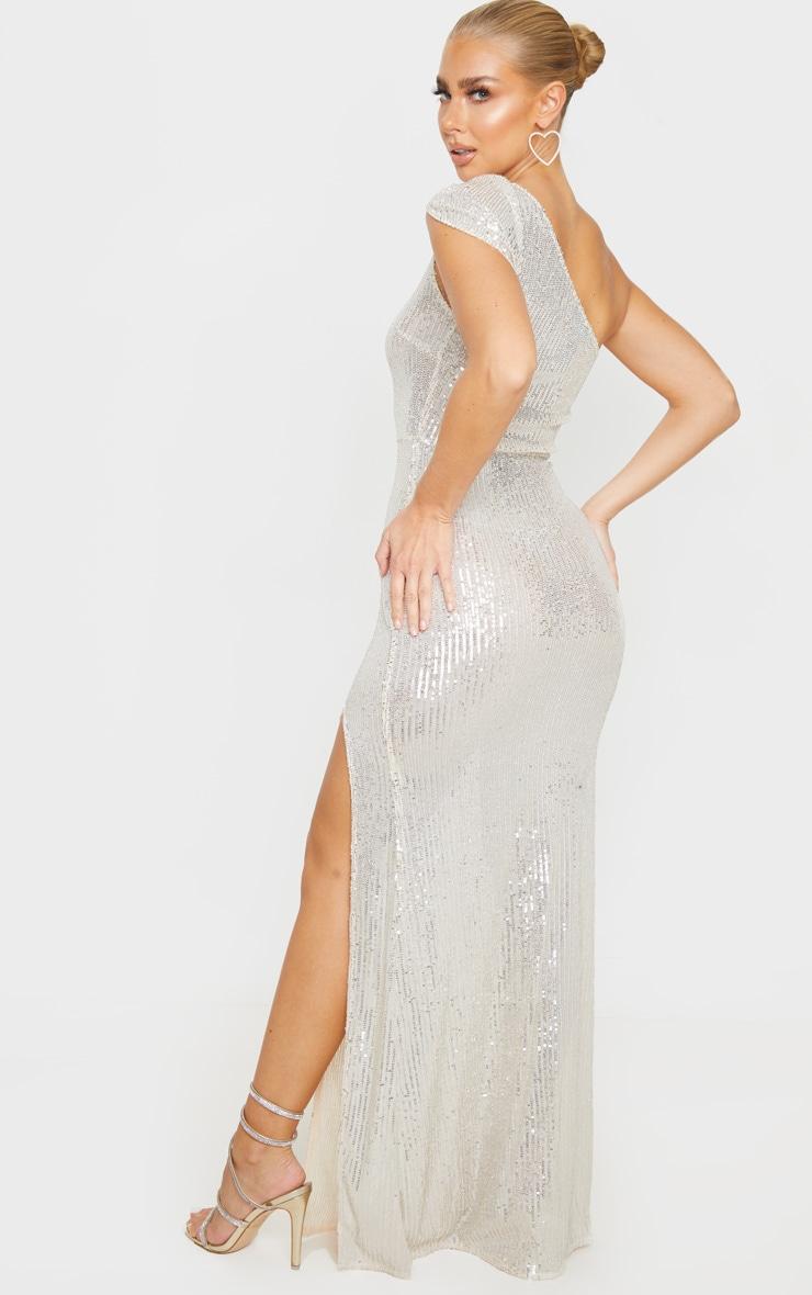 Silver Sheer Sequin One Shoulder Maxi Dress 2