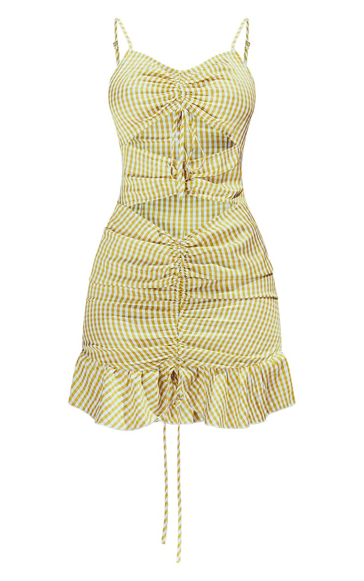 Chartreuse Gingham Cut Out Ruched Detail Strappy Bodycon Dress 5