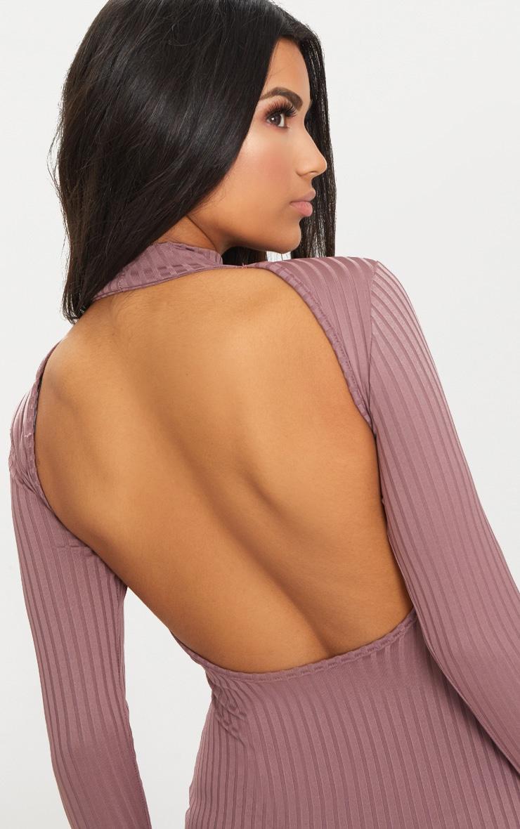 Dark Mauve Rib High Neck Long Sleeve Open Back Midaxi Dress 5