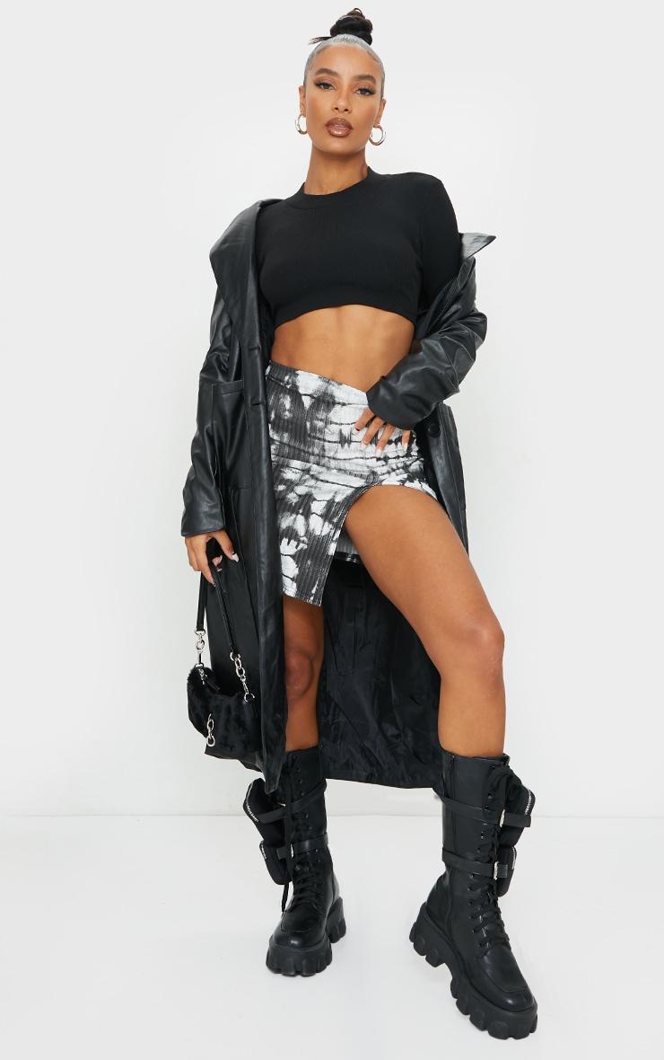 Black Tie Dye Rib Split Front Mini Skirt 1