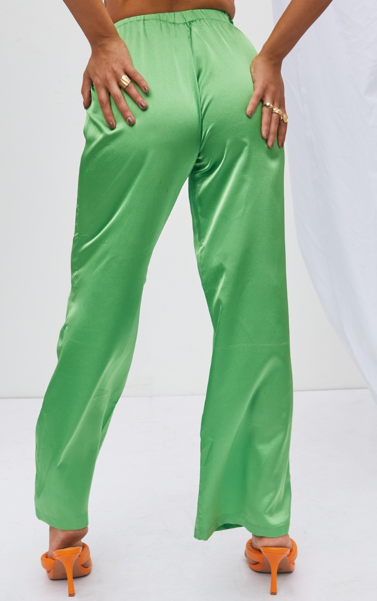 Petite Green Satin High Waisted Ruched Wide Leg Pants 3