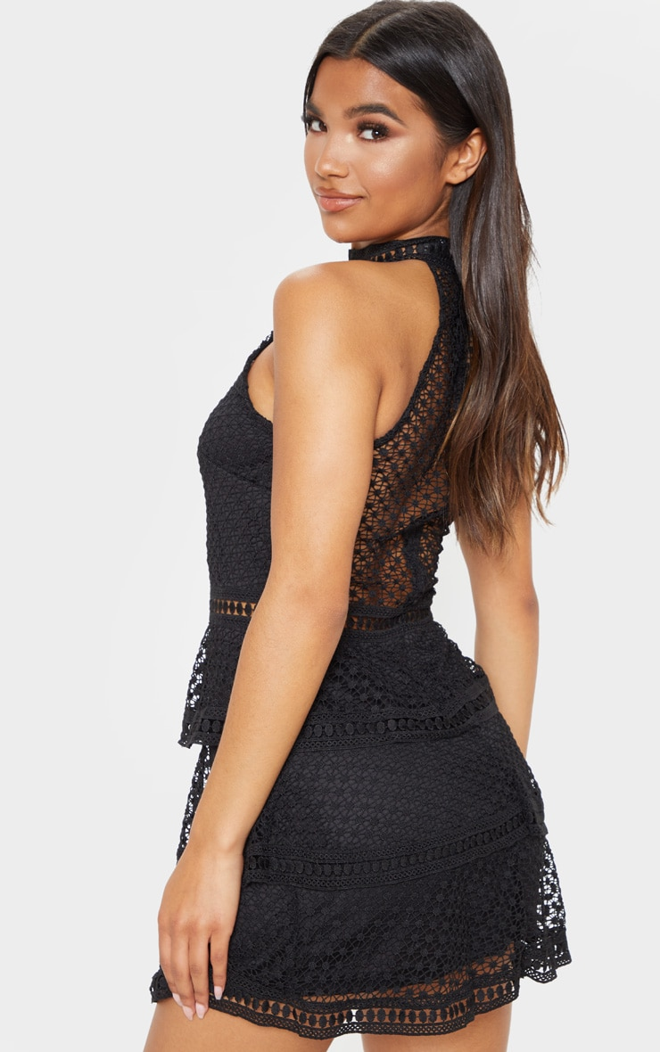 Black Lace Panel Tiered Mini Dress 2